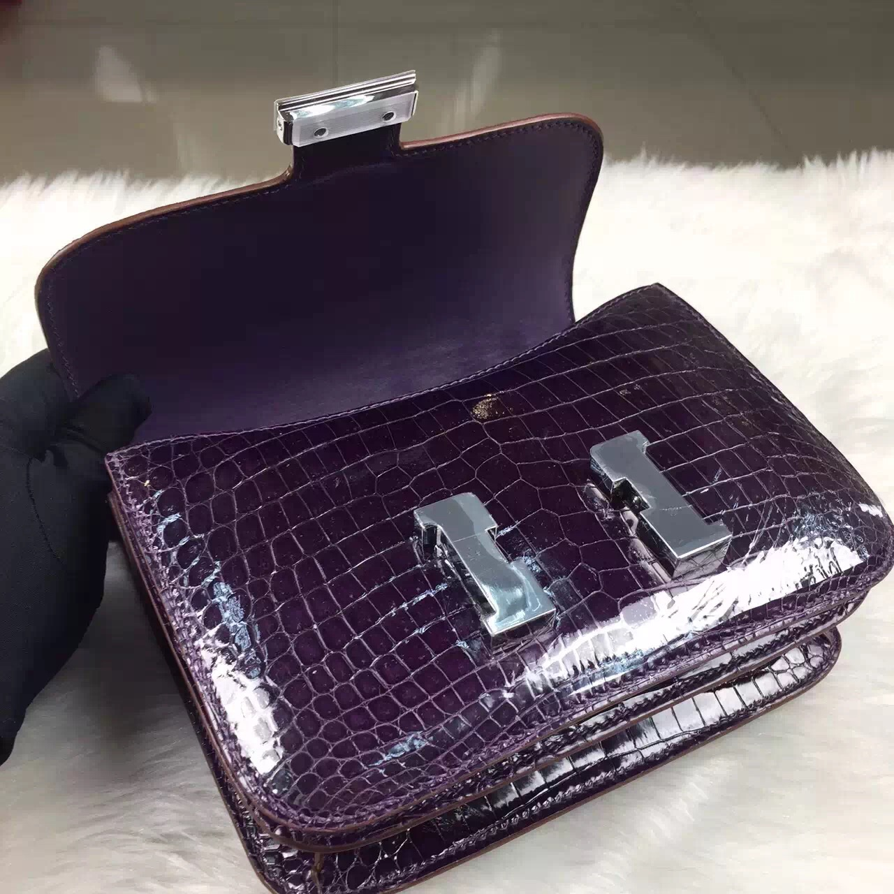 Hand Stitching Hermes Constance19cm 9G Violet Crocodile Shiny Leather