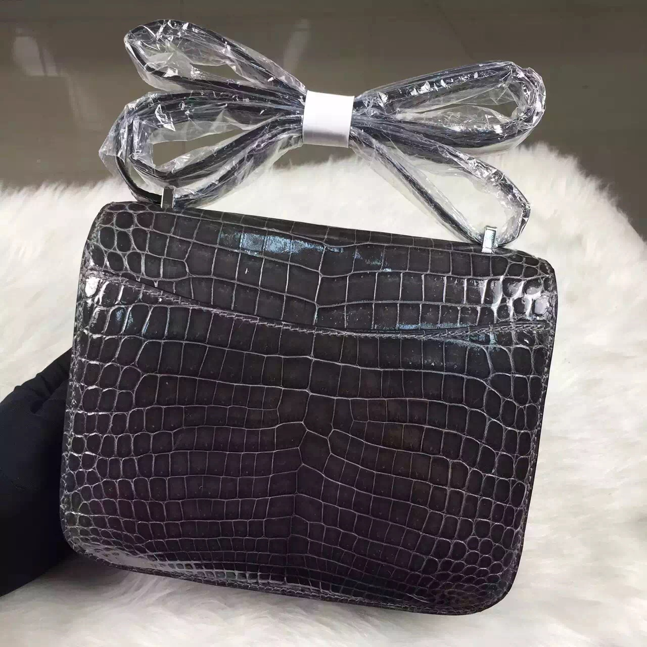 Wholesale Hermes Constance Bag19cm Graphite Grey Crocodile Shiny Leather