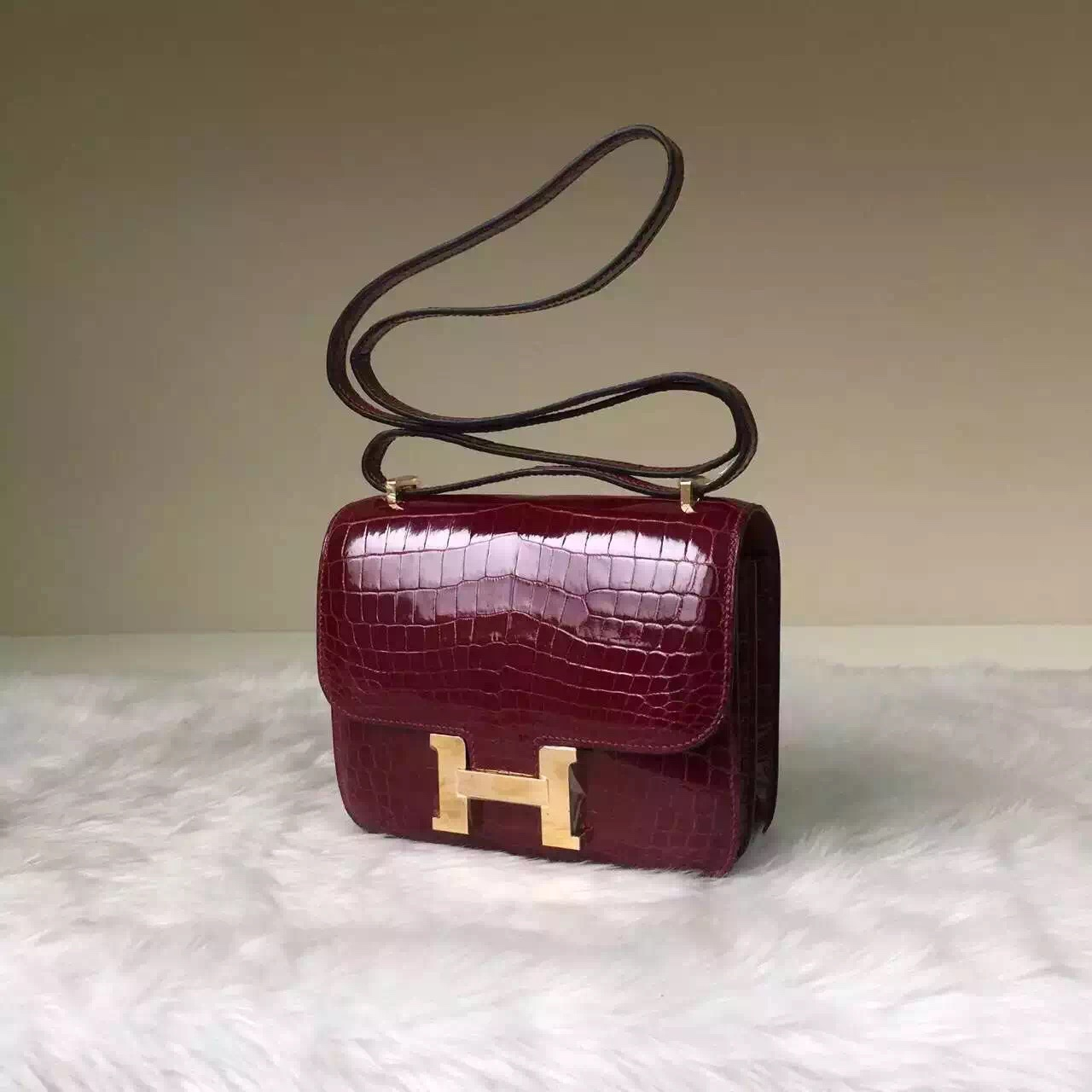Hand Stitching Hermes Constance Bag 19CM Bourgogne Red HCP Crocodile Leather