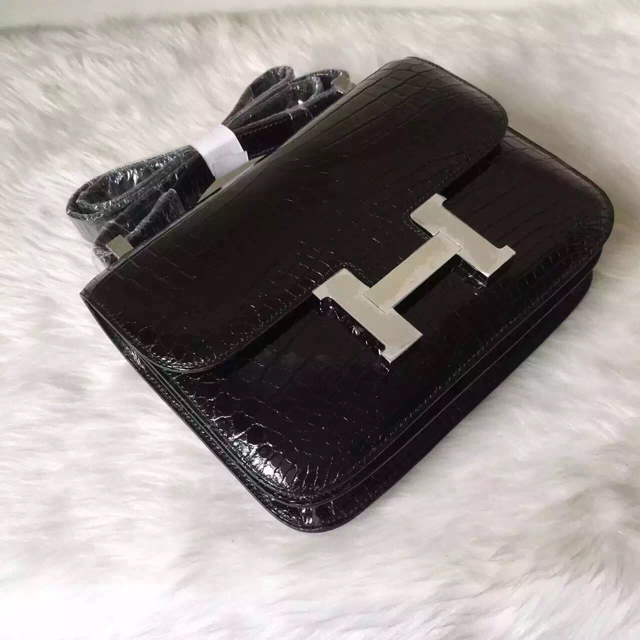 New Elegant Hermes CK89 Black Crocodile Leather Constance Bag24CM