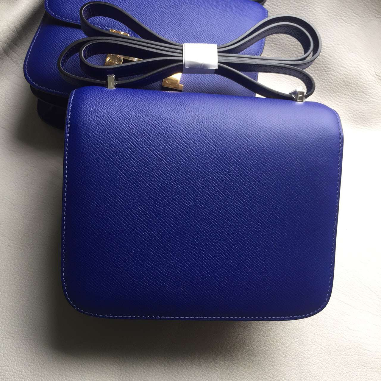 Fashion Hermes 7T Blue Electric Epsom Leather Constance Bag18CM