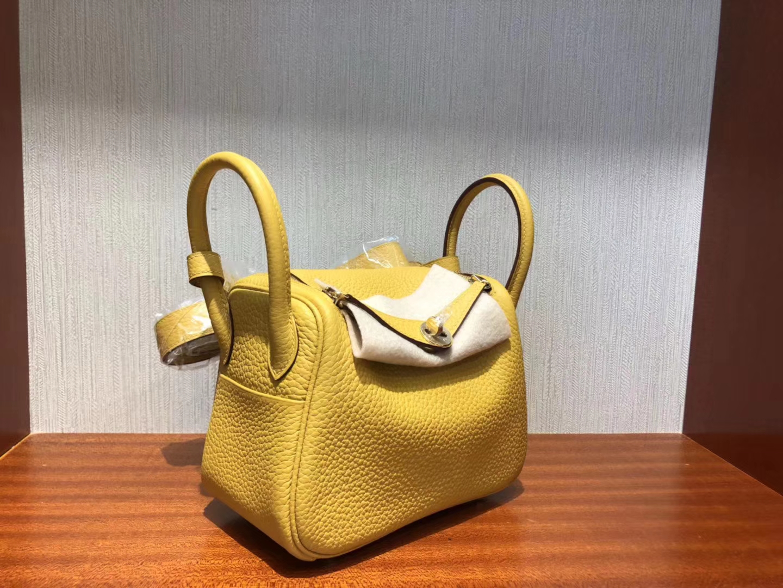New Hermes Ambre Yellow Togo Calf Mini Lindy20CM Bag Silver Hardware