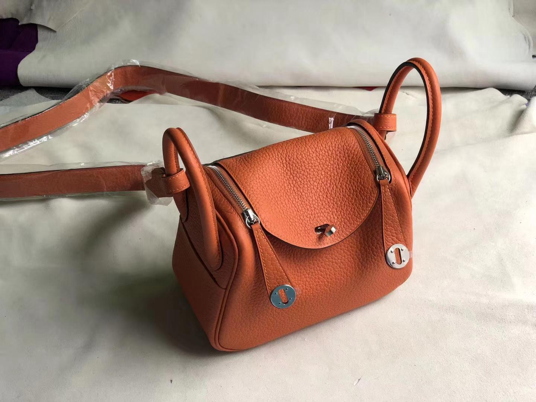 Customize Hermes Classic Orange TC Calf Mini Lindy Bag19CM Silver Hardware
