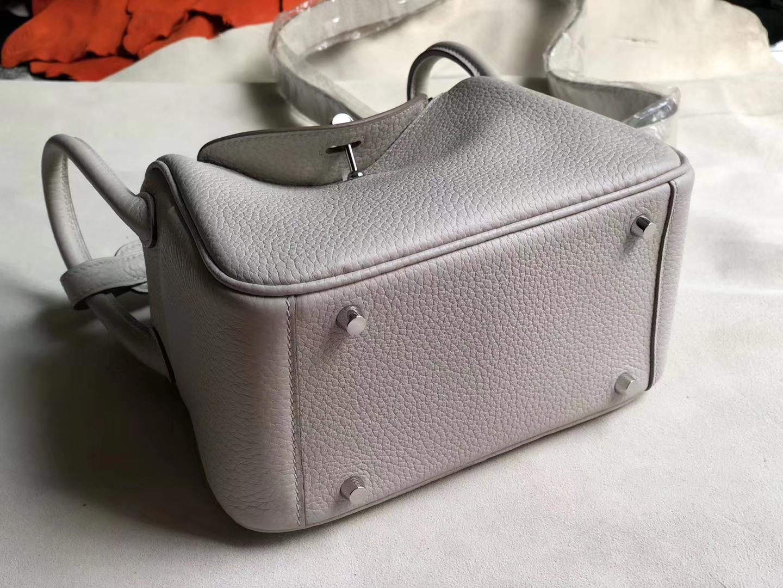 Fashion Hermes CK80 Gris Pearl TC Calf Mini Lindy Bag19cm Silver Hardware