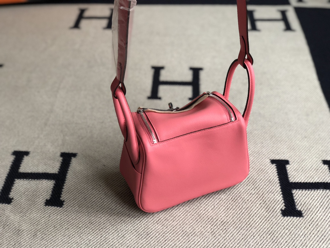 Stock Hermes Swift Calf Mini Lindy19cm in 8W Rose Azalee Gold/Silver Hardware