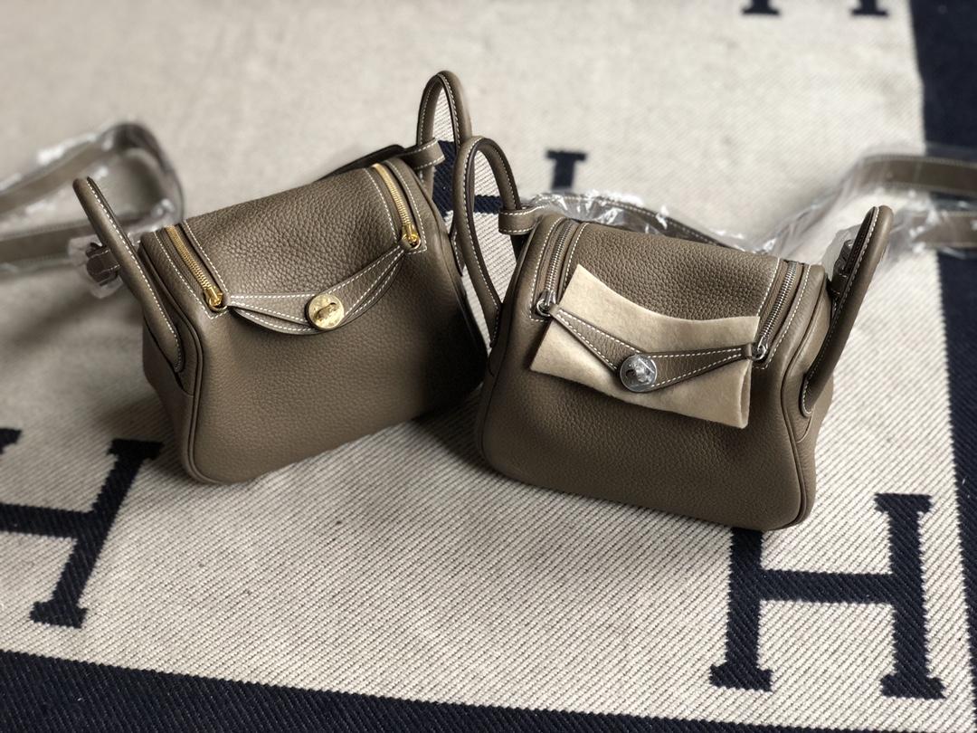 Stock Hermes CK18 Gris Etoupe TC Calf Mini Lindy Bag19cm Gold/Silver Hardware