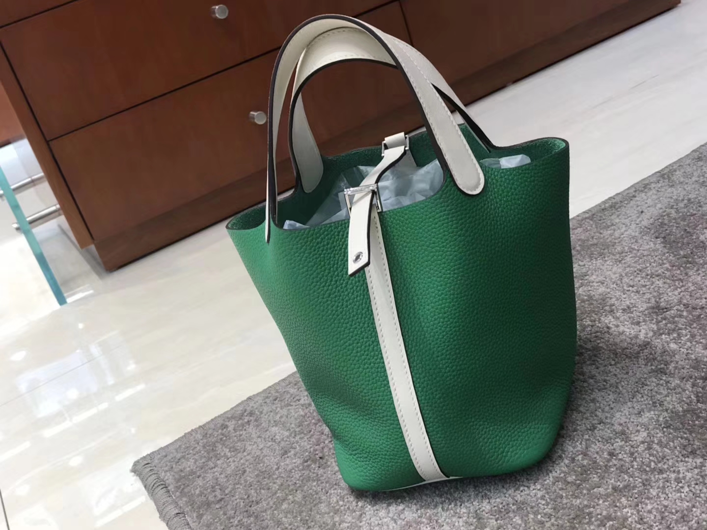 Disount Hermes Clemence Calf Picotin Bag in Vert Bamboo & Gris Pearl Silver Hardware