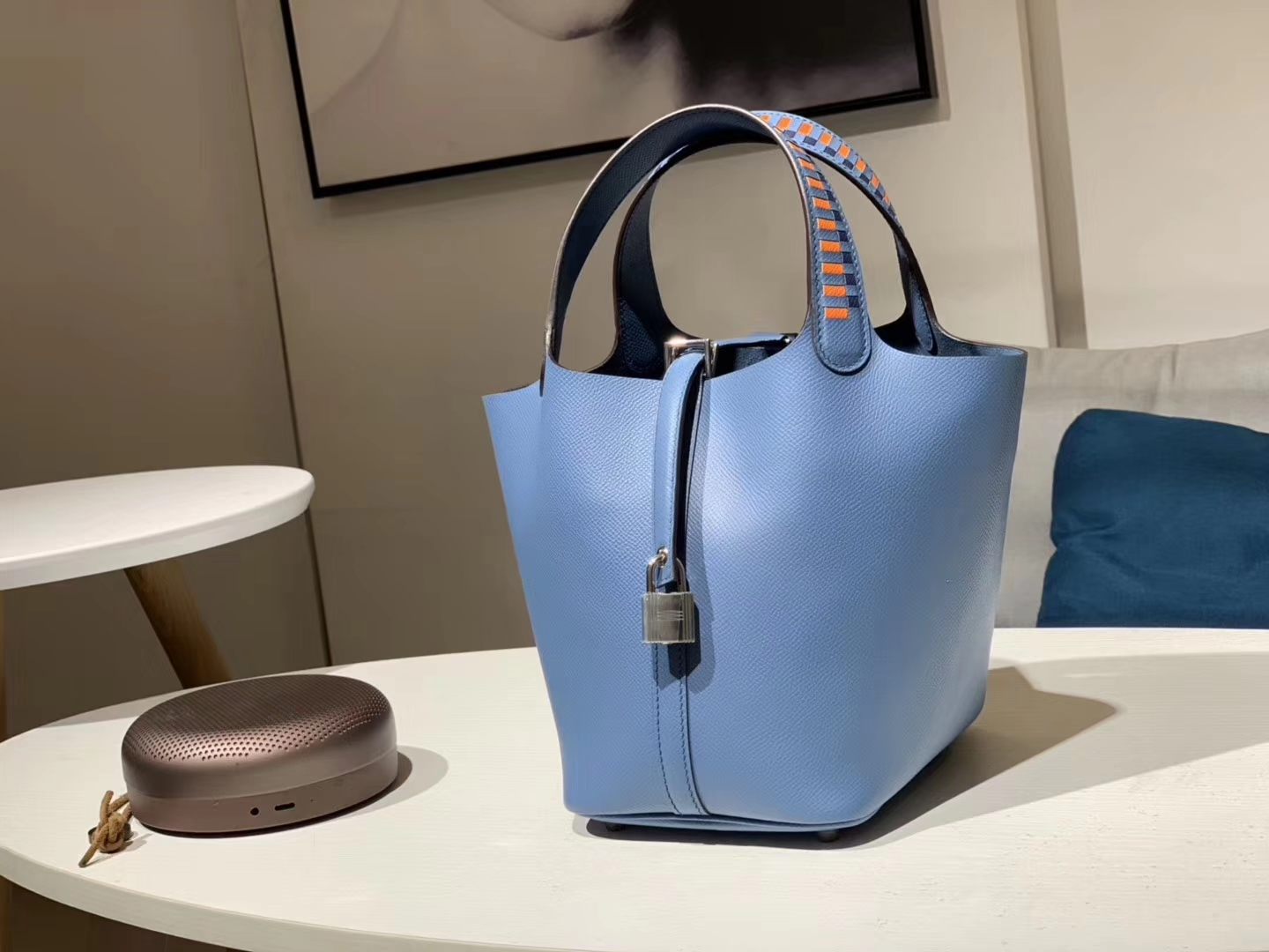 Luxury Hermes Epsom Calf R2 Blue Agate Picotin Bag With Woven Handle Silver Hardware