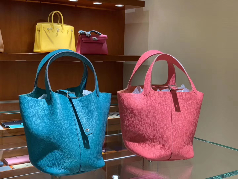 Wholesale Hermes BlueIzmir/Rose Lipstick Clemence Calf Picotin Bag18/22CM