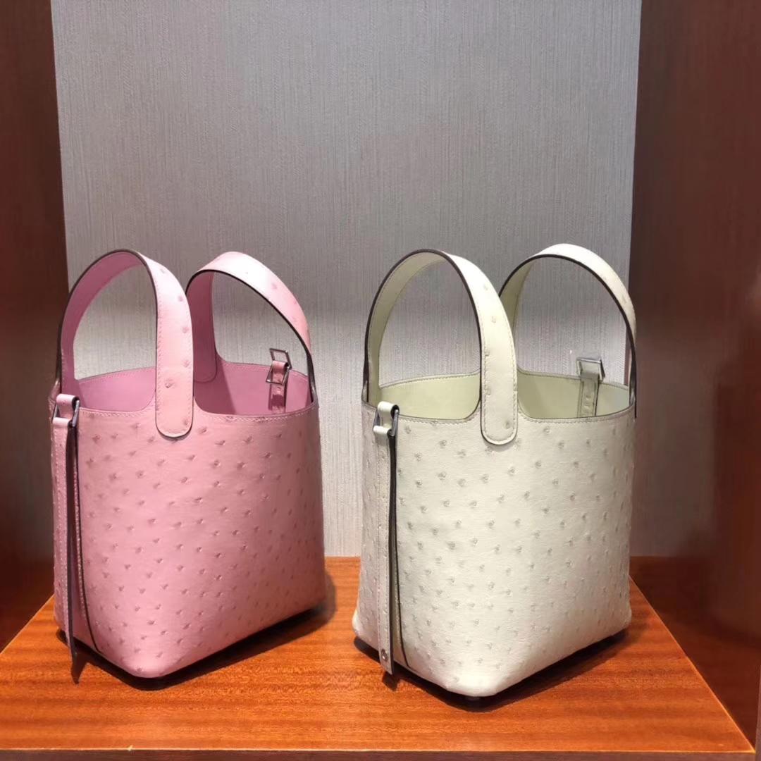 Stock Hermes CK94Terre Cuite VS 3C Wool White Ostrich Picotin18CM Tote Bag