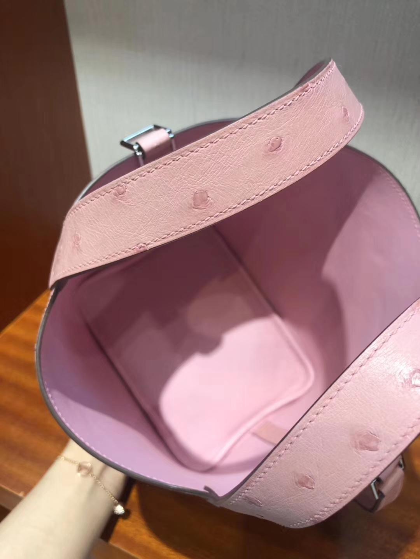 Sale Hermes KK Ostrich Picotin18CM Women's Tote Bag in 1Q Rose Confetti Silver Hardware