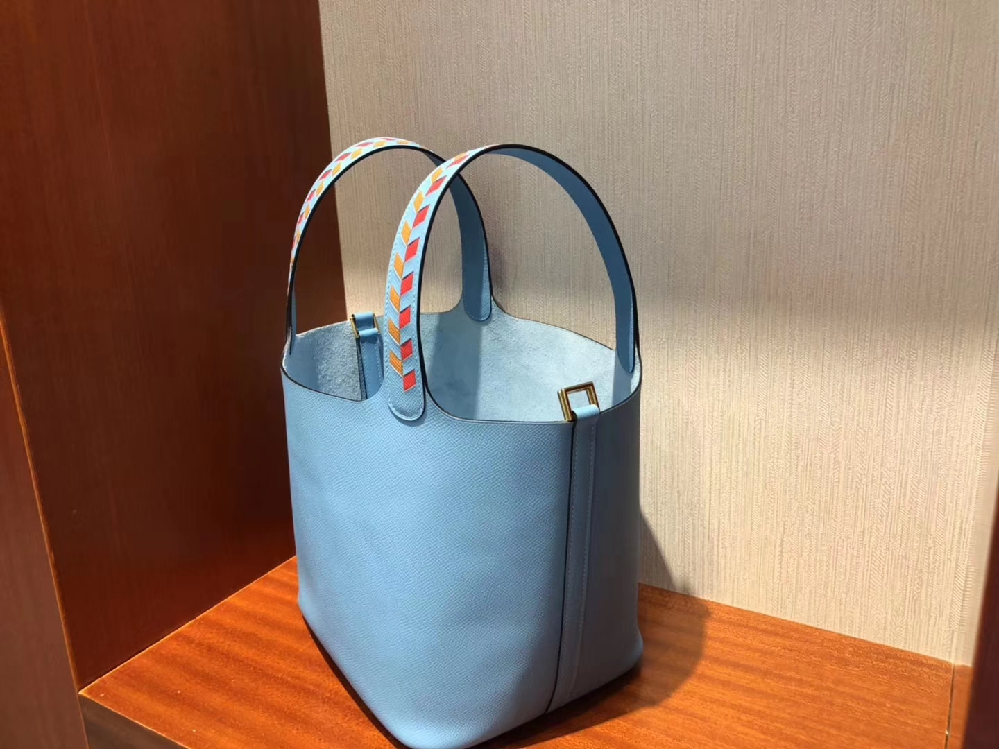 Stock Hermes P3 Blue de Nord Epsom Calf Picotin22CM with Knitted Handle Silver Hardware
