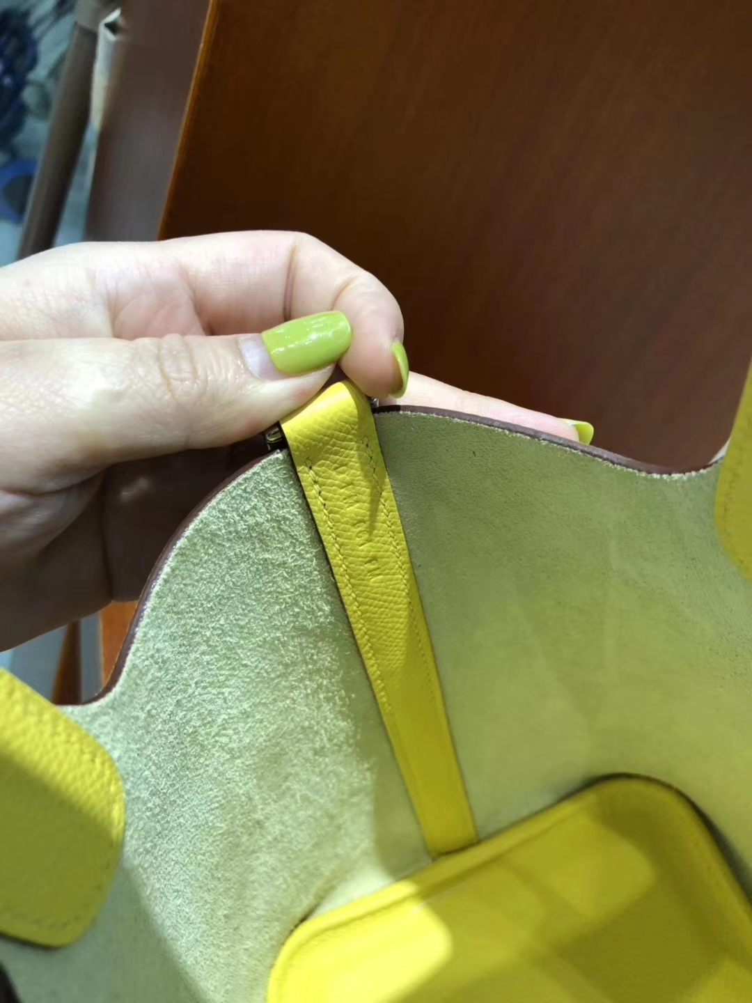 New Hermes 9OJaune de Naples Epsom Picotin18CM Bag with Knitted Handle Silver Hardware