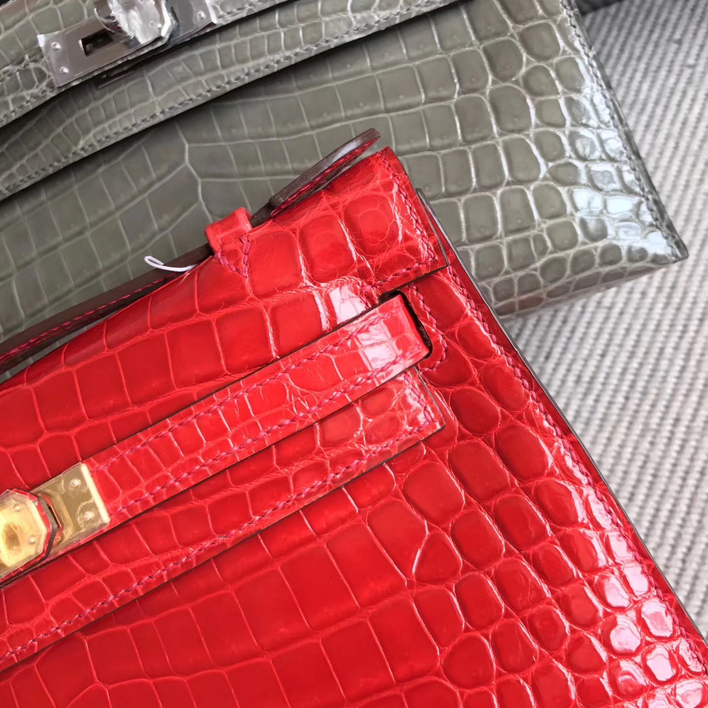 On Sale Hermes CK95 Braise Shiny Crocodile Leather Minikelly Pochette 22CM