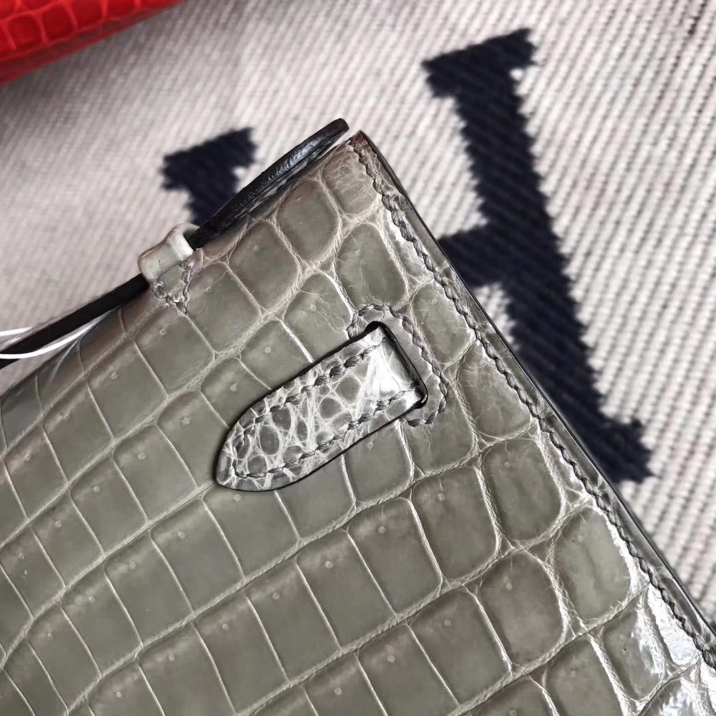 On Sale Hermes Shiny Crocodile Minikelly Pochette 22CM in CK81Gris Tourterelle