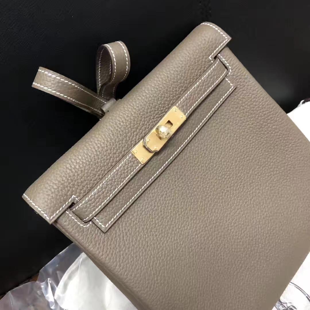 Fashion Hermes CK18 Etoupe Grey TC Calf Leather Kelly Backpack Shoulder Bag22CM