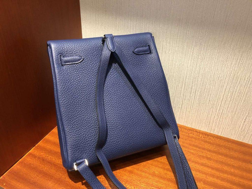New Arrival Hermes Blue Saphir TC Calf Kelly Ado Backpack Shoulder Bag Silver Hardware