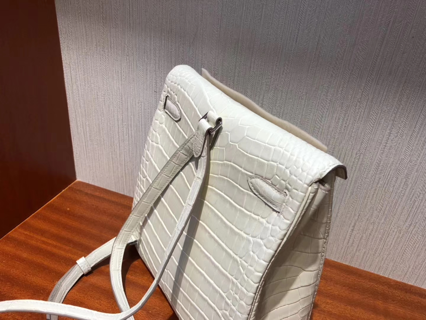 Sale Hermes 8L Beton White Alligator Matt Crocodile Kelly Ado Backpack Silver Hardware