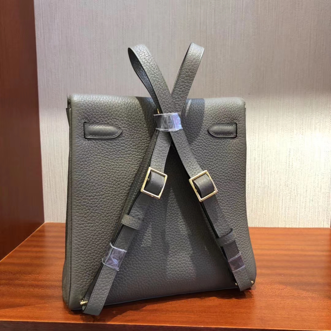 Stock Hermes Clemence Leather Kelly Ado Backpack Shoulder Bag in 8F Gris Etain