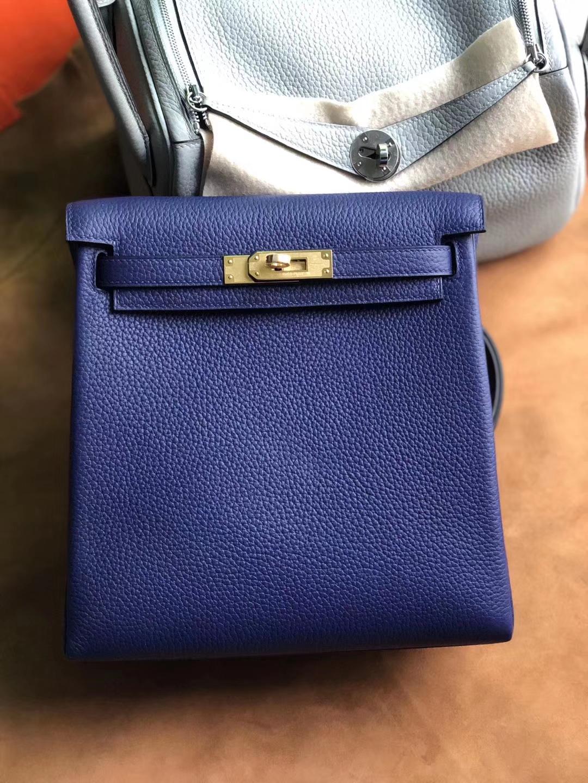 Customize Hermes M3 Blue Encre Kelly Ado Backpack Shoulder Bag22cm