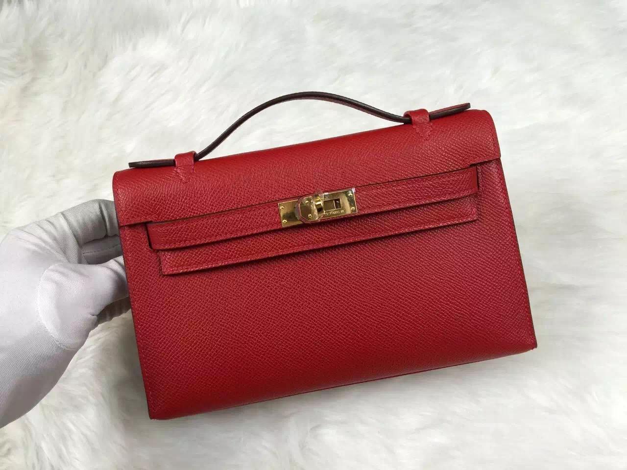 Cheap Hermes Mini Kelly Q5 Chinese Red Epsom Calfskin Leather Ladies' Handbag
