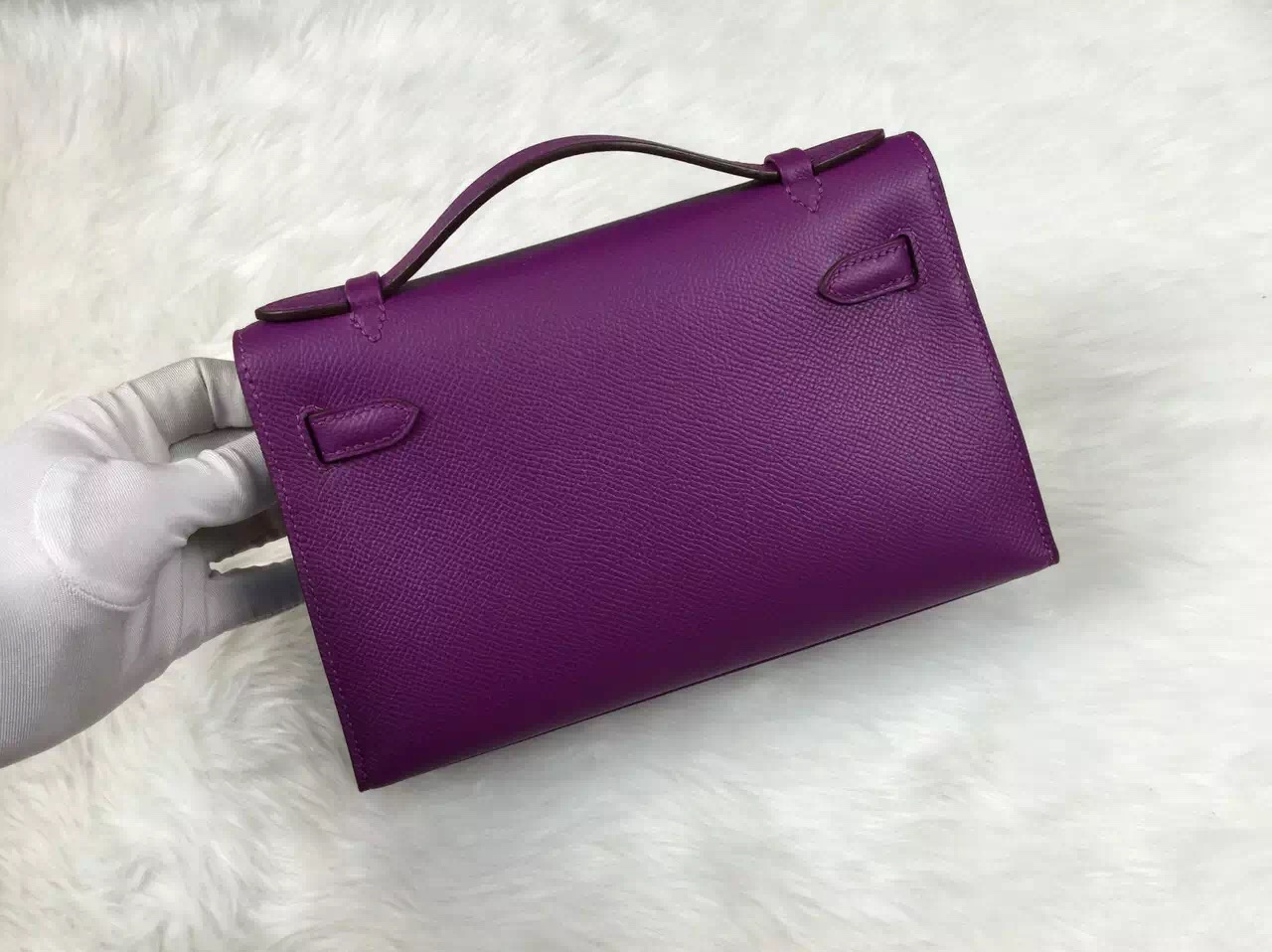 New Fashion Bag Hermes Mini Kelly Bag P9 Anemone Purple Epsom Leather Tote Bag