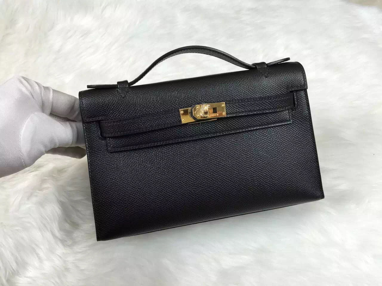 Discount Hermes Black Epsom Leather Mini Kelly Bag Gold Hardware Online