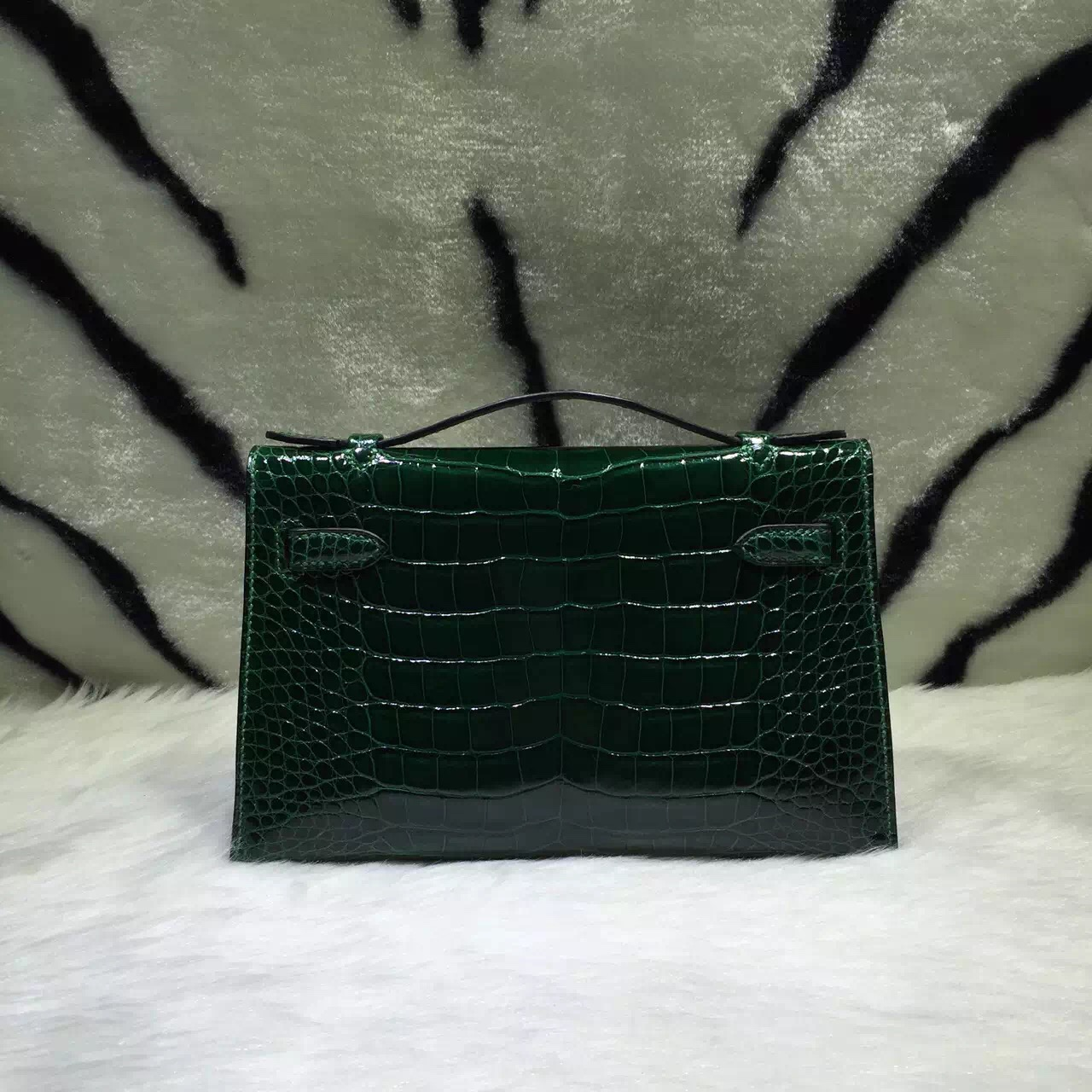 Hand Stitching Hermes Mini Kelly Bag CK67 Emerald Green Crocodile Skin