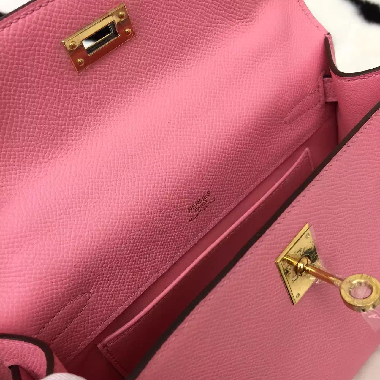 High Quality Hermes Original Epsom Leather Mini Kelly 1Q Rose Confetti