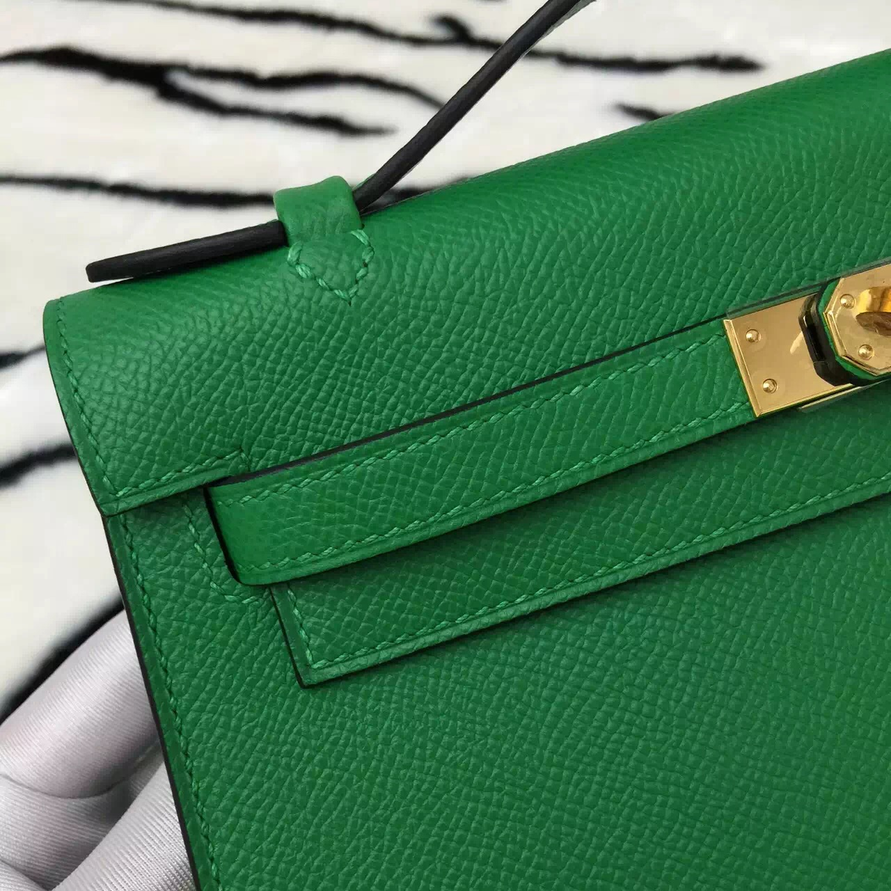 Wholesale Hermes 1K Bamboo Green Epsom Leather Mini Kelly Bag Women's Clutch Bag