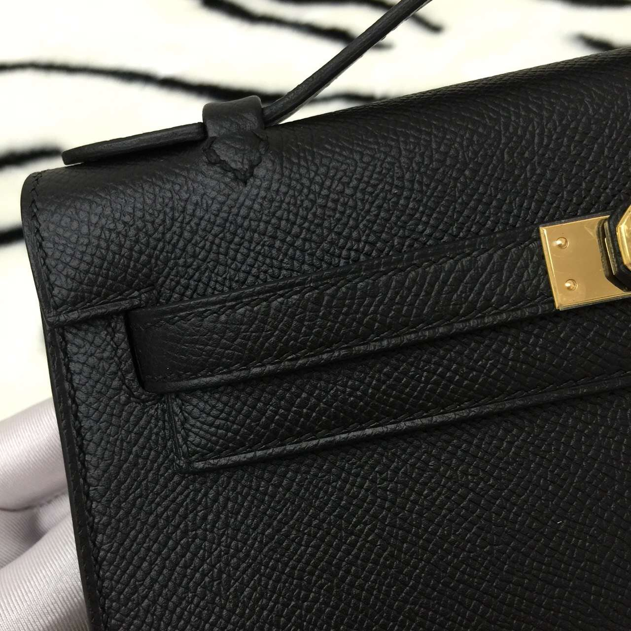 Discount Hermes Epsom Leather Mini Kelly Bag CK89 Black Fashion Ladies' Tote Bag