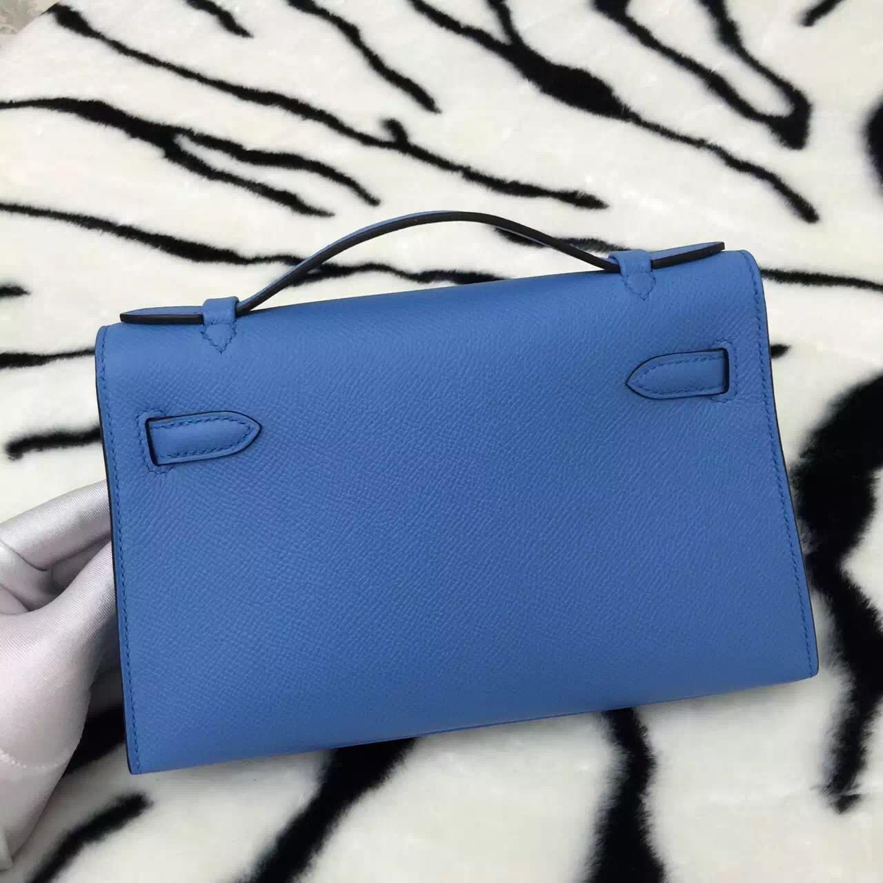 Hand Stitching Hermes 2T Blue Paradise Epsom Leather Mini Kelly