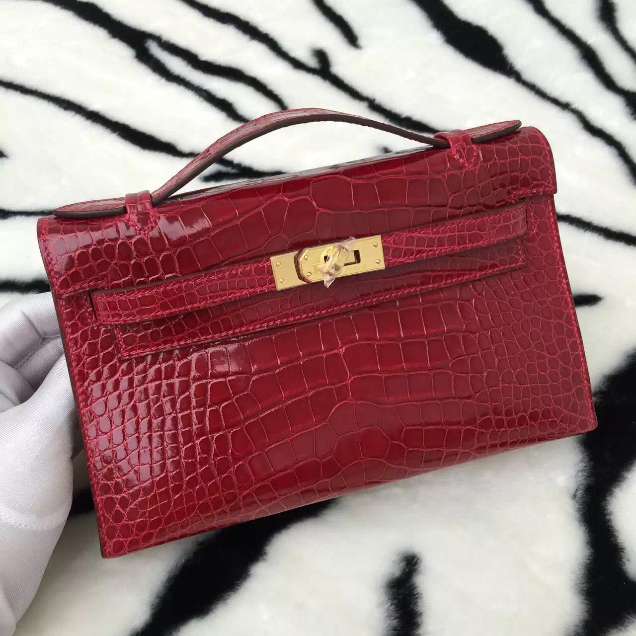 New Fashion Hermes Crocodile Skin Mini Kelly Bag Women's Handbag CK95 Ferrari Red