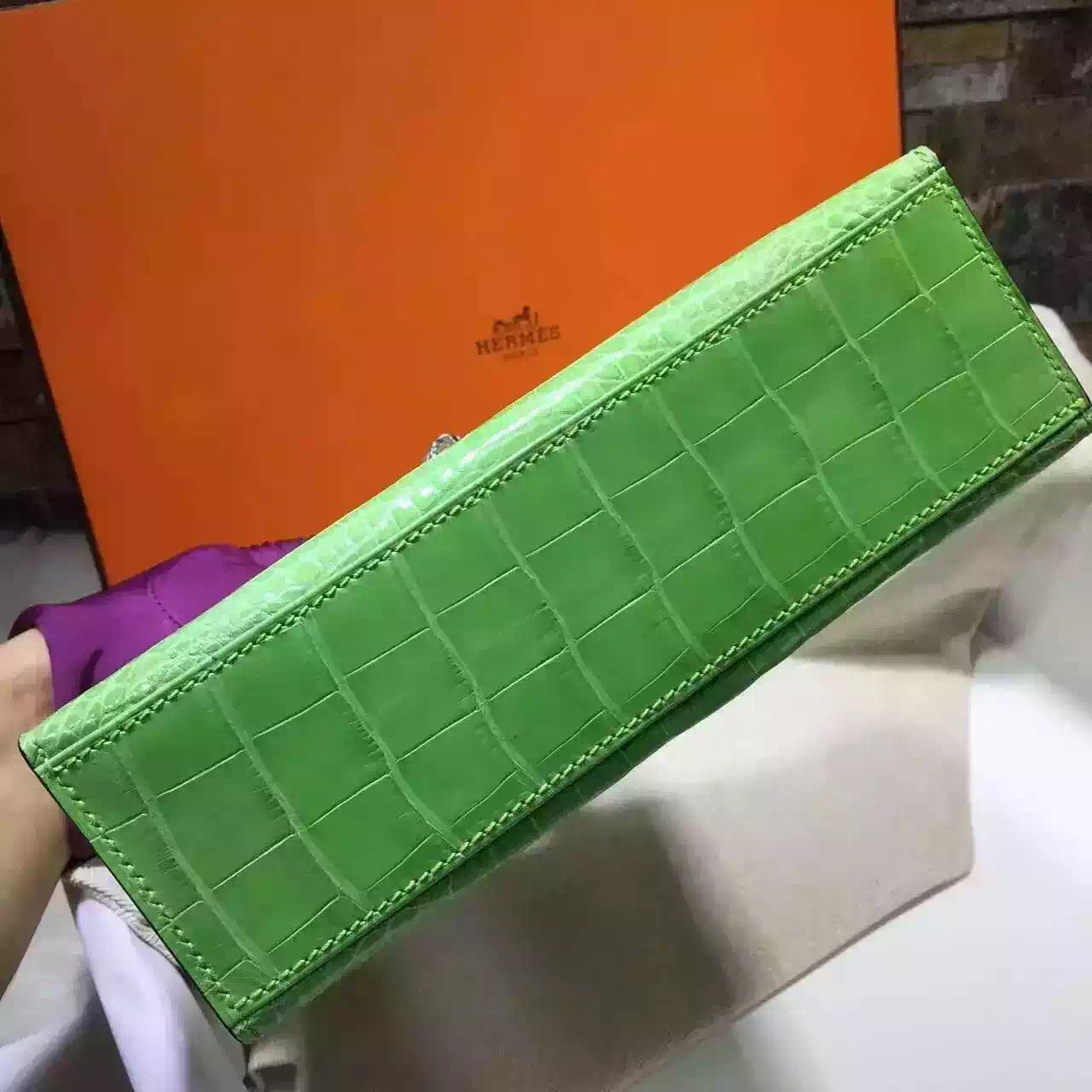 Wholesale Hermes Green Crocodile Skin Mini Kelly Bag Women's Tote Bag