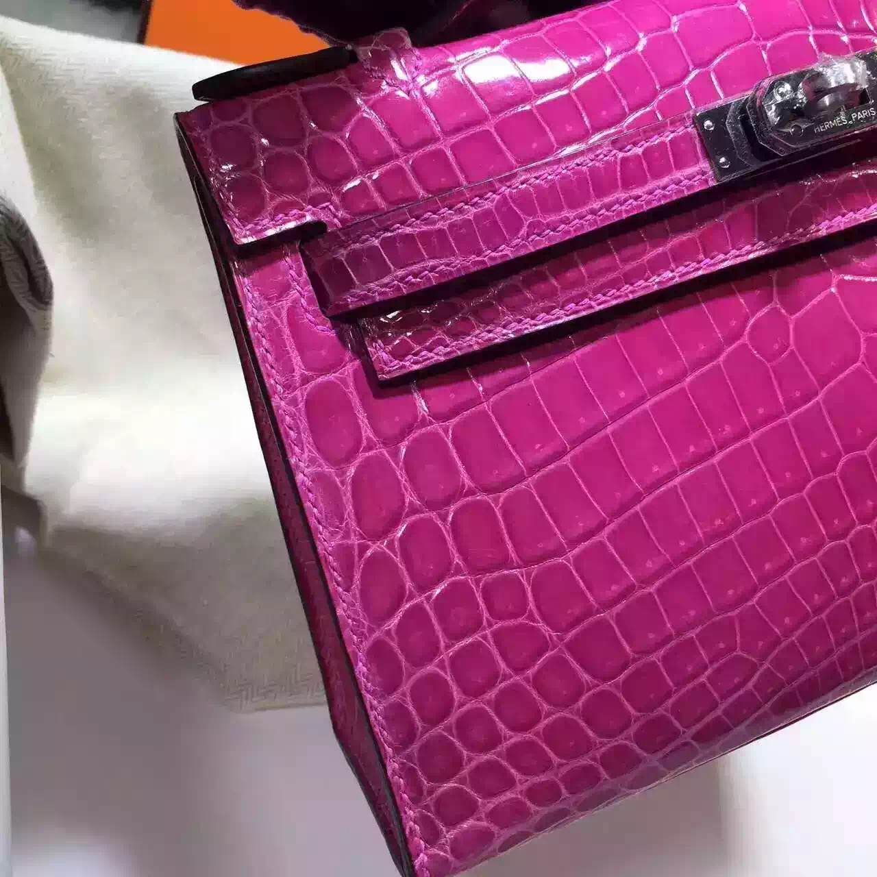 Hand Stitching Hermes J5 Rose Scheherazade Crocodile Leather Mini Kelly Evening Bag