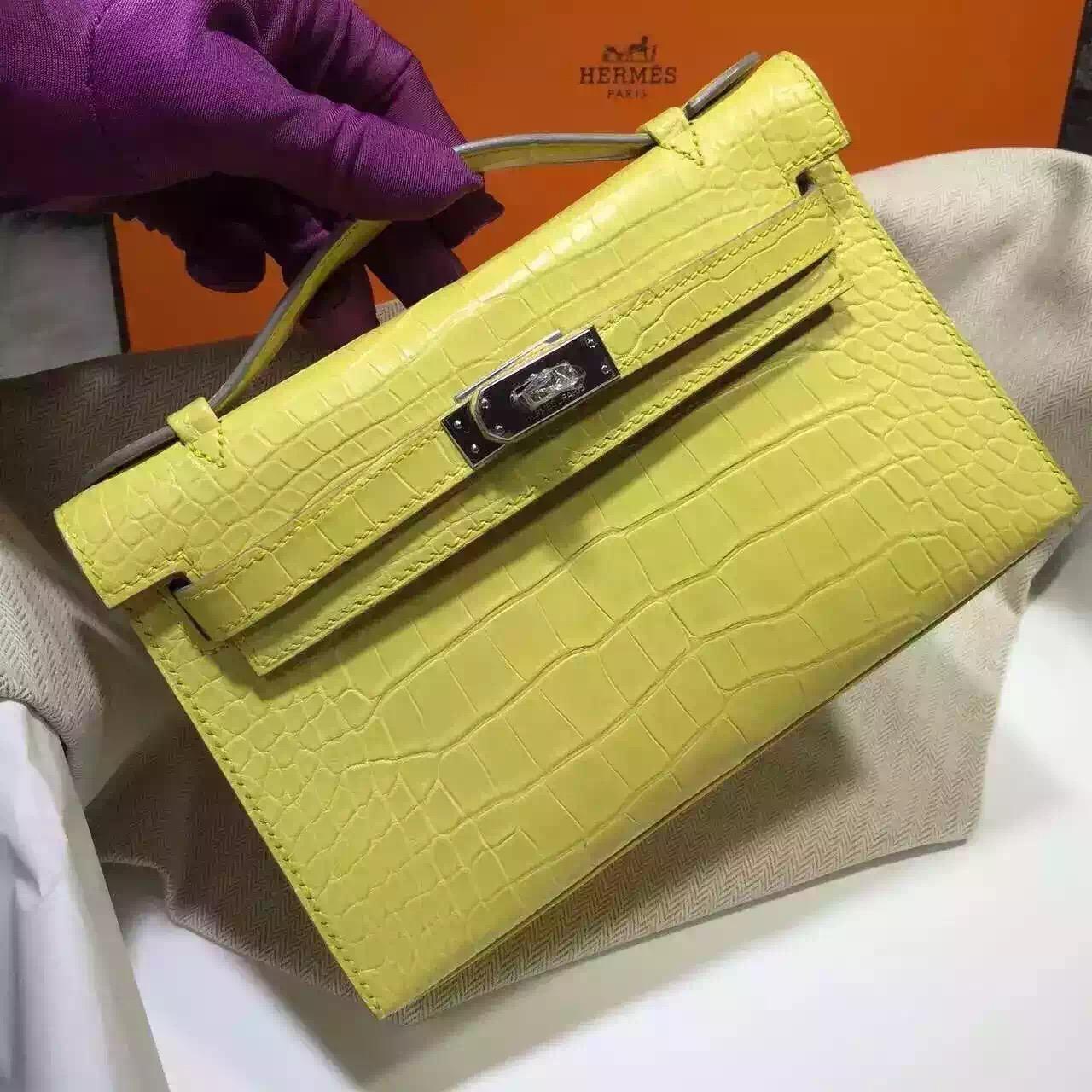 Discount Hermes Crocodile Skin Mini Kelly Bag in 9K Lemon Yellow Women's Clutch