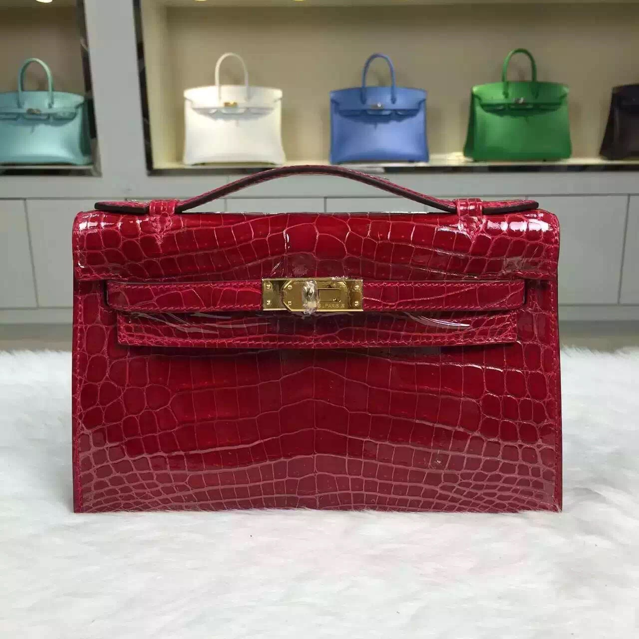 Hand Stitching Hermes Chinese Red Crocodile Skin Mini Kelly Pochette 22CM