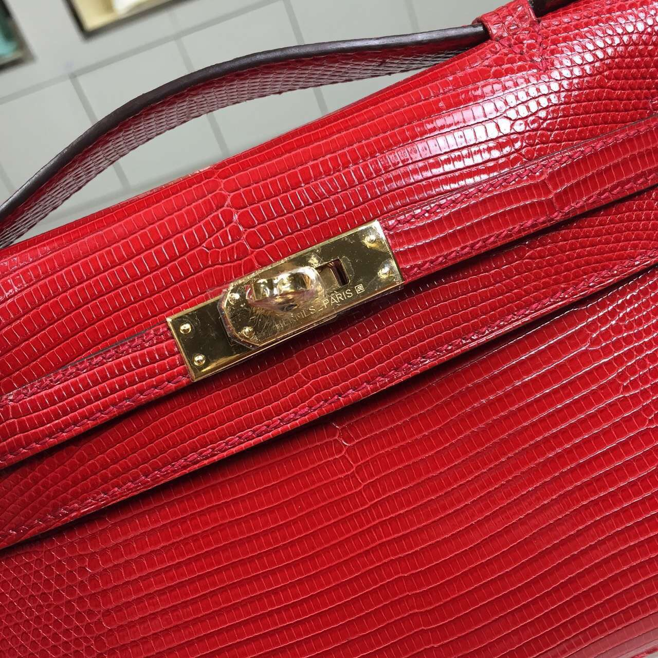 Wholesale Hermes Lizard Skin Leather Mini Kelly Pochette Clutch Bag in Chinese Red 22CM