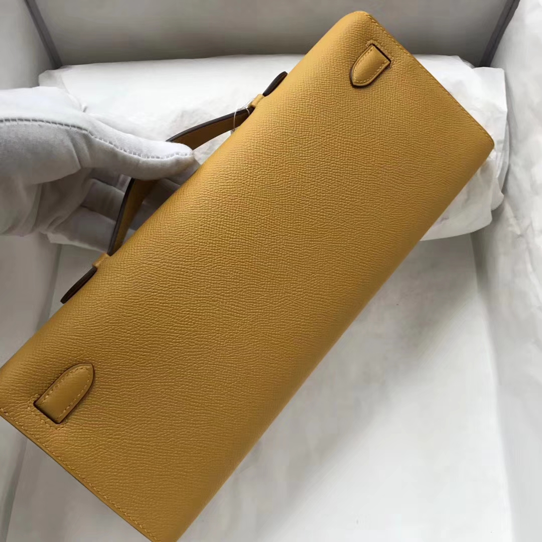 Wholesale Hermes 9D Ambre Yellow Epsom Calf Kelly Cut Clutch Bag Silver Hardware
