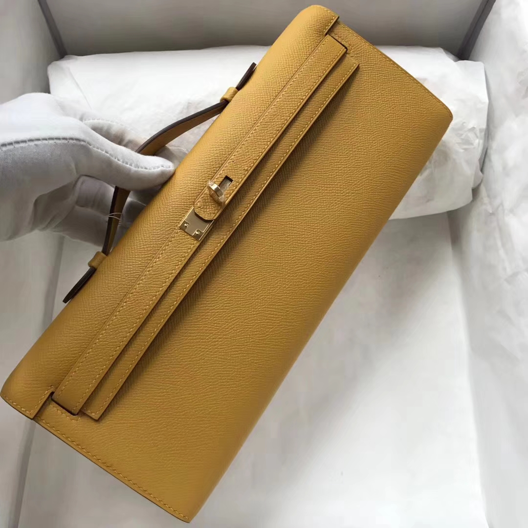 New Hermes Epsom Calf Kelly Cut Evening Bag in 9D Ambre Yellow Gold Hardware