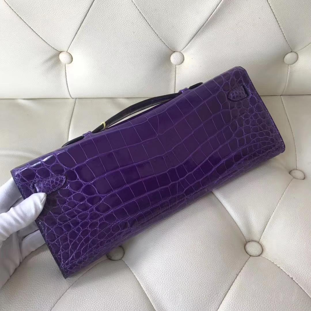 Luxury Hermes 5L Ultraviolet Shiny Crocodile Kelly Cut Clutch Bag Gold Hardware