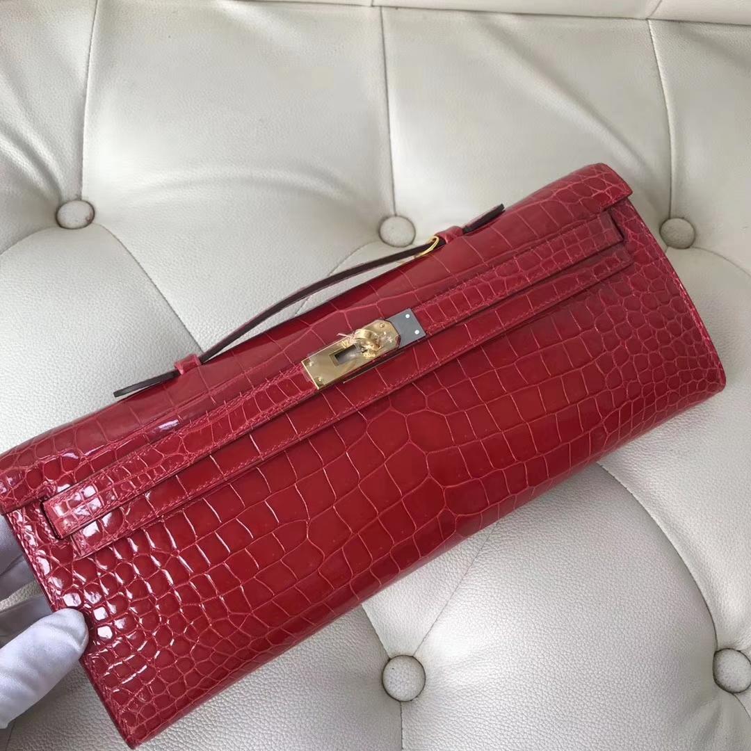 Pretty Hermes CK95 Braise Shiny Crocodile Leather Kelly Cut Evening Bag Gold Hardware