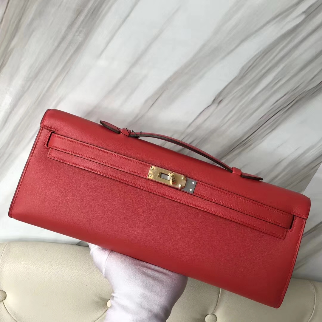 Discount Hermes S5 Rouge Tamato Swift Calf Kelly Cut Clutch Bag31CM Gold Hardware