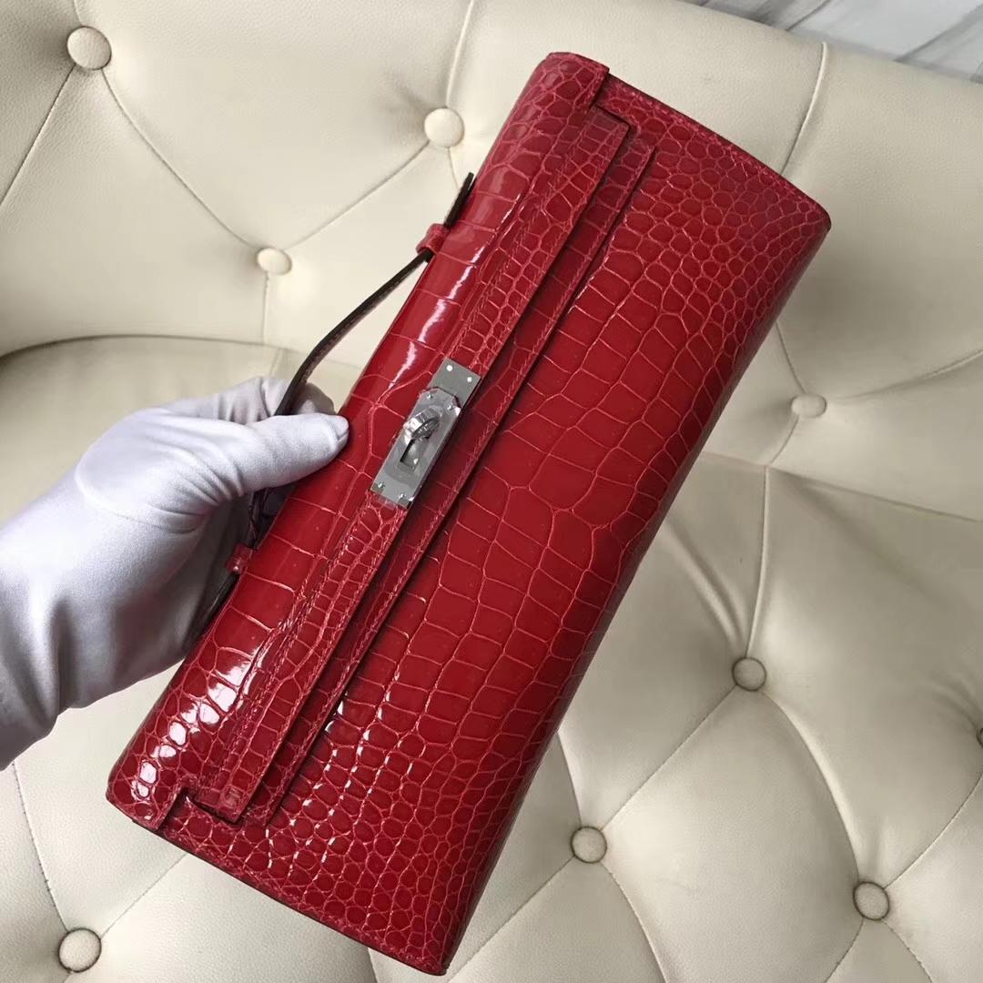 Pretty Hermes Shiny Crocodile Leather Kelly Cut Clutch Bag in CK95 Braise Silver Hardware
