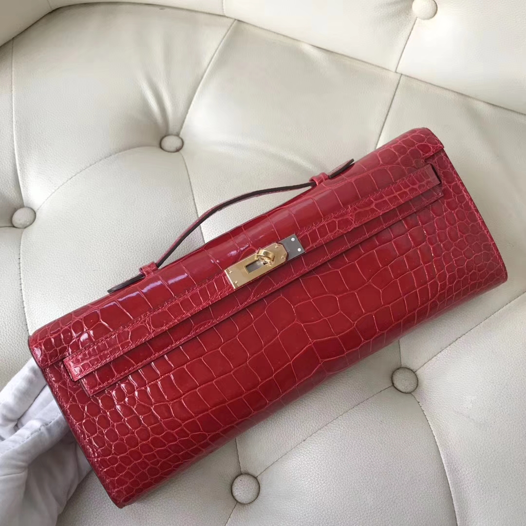 Sale Hermes CK95 Braise Porosus Shiny Crocodile Kelly Cut Clutch Bag Gold Hardware