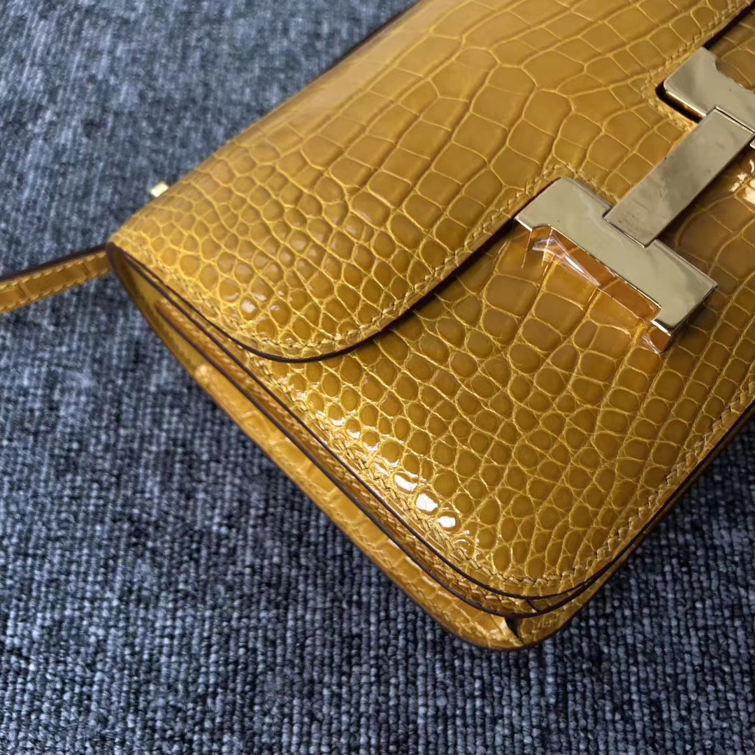 Discount Hermes Shiny Crocodile Constance18CM Bag in 9D Ambre Yellow Gold Hardware