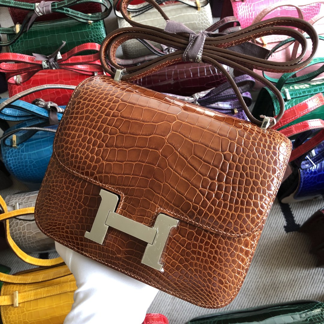 Stock Hermes Alligator Crocodile Constance18CM Bag CK31 Miel Silver Hardware