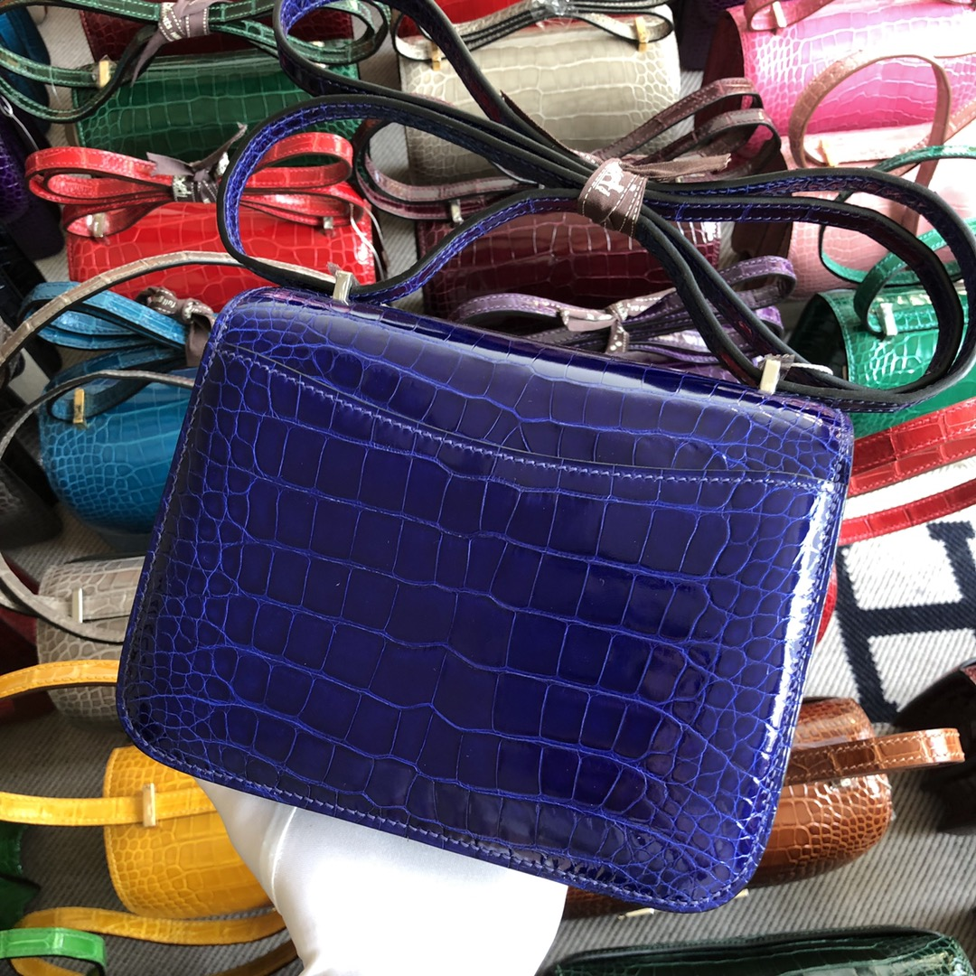 Stock Hermes 7T Blue Electric Shiny Crocodile Constance Bag18cm Silver Hardware