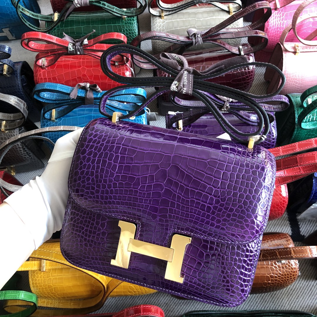 Stock Hermes Alligator Crocodile 9GAmethyst Purple Constance18CM Bag Gold Hardware
