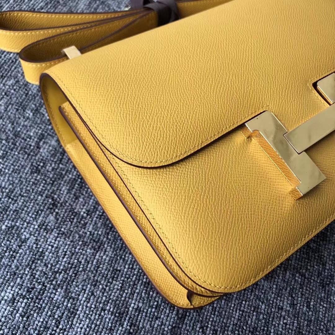 Stock Hermes 9D Ambre Yellow Epsom Calf Constance23CM Bag Gold Hardware